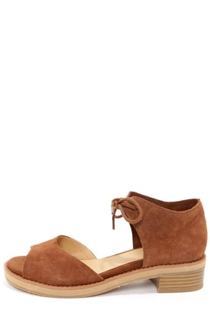 BC Footwear Hard To Tell Cognac Suede Sandals