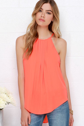 Atlantis Is It Neon Orange Halter Top at Lulus.com!