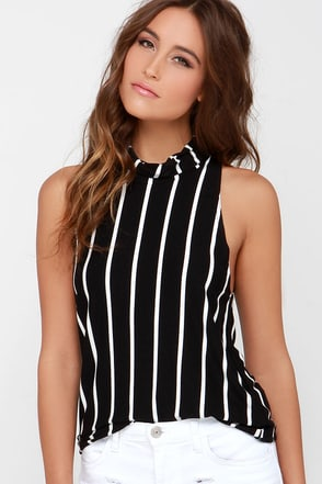 The Fifth Label Jupiter Sunshine Black Striped Sleeveless Top at Lulus.com!