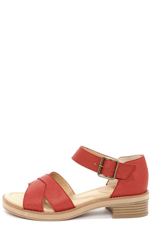 BC Footwear Deal With It Red Leather Sandals