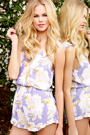 A La Playsuit Purple Floral Print Romper at Lulus.com!