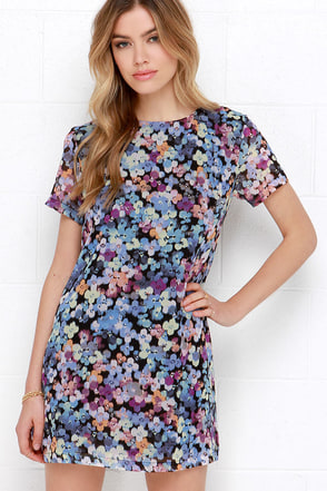 Riverbank Blossoms Blue Floral Print Shift Dress at Lulus.com!