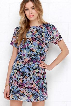 Riverbank Blossoms Blue Floral Print Shift Dress at Lulus.com!