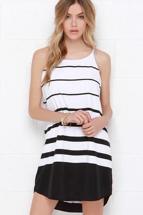 BB Dakota Amelia Black and White Striped Shift Dress at Lulus.com!