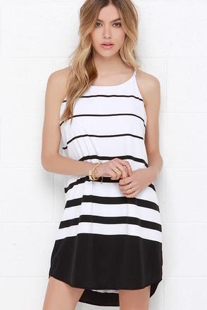 BB Dakota Amelia Black and White Striped Shift Dress at Lulus.com!