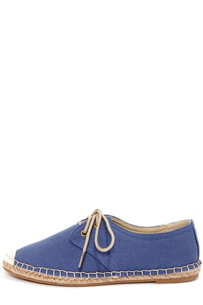 Bamboo Saturday 04 Blue Lace-Up Espadrille Flats