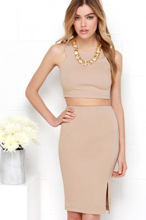 Double Entendre Dark Beige Two-Piece Dress at Lulus.com!