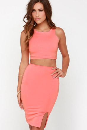Double Entendre Coral Two-Piece Dress at Lulus.com!