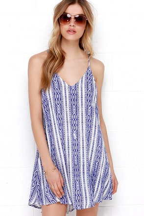Calm Waters Cream and Blue Print Dress at Lulus.com!
