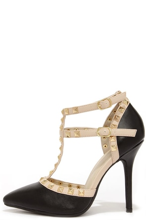 Wild Diva Lounge Adora 64 Black Studded T-Strap Pointed Heels at Lulus.com!