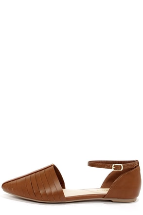 Bamboo Object 32 Chestnut Ankle Strap D'Orsay Flats