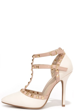 Wild Diva Lounge Adora 64 Nude Patent Studded Pointed Heels at Lulus.com!