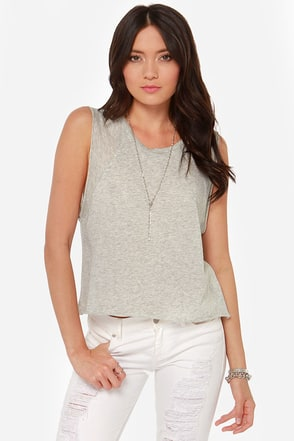 Mink Pink For Now Cropped Grey Tee