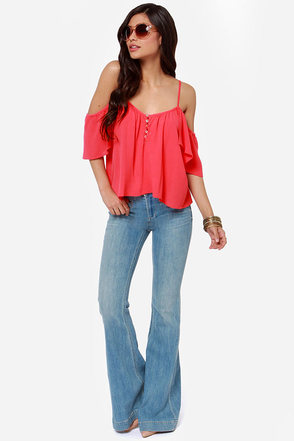 Ebb and Flow Off-the-Shoulder Pink Top