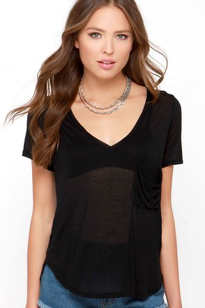 License to Chill Black V Neck Tee at Lulus.com!