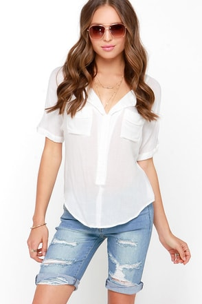 Cut-Off Point Medium Wash Distressed Bermuda Shorts at Lulus.com!