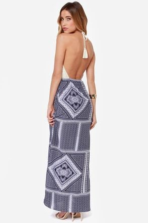 Out in the Open Blue Print Maxi Dress