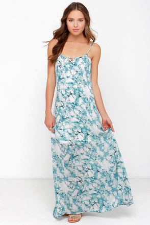 Take Me to Tulum Teal Blue Print Maxi Dress at Lulus.com!