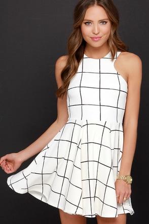 Reality Check Black and Cream Grid Print Dress at Lulus.com!