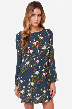 Darling Tia Navy Floral Print Shift Dress