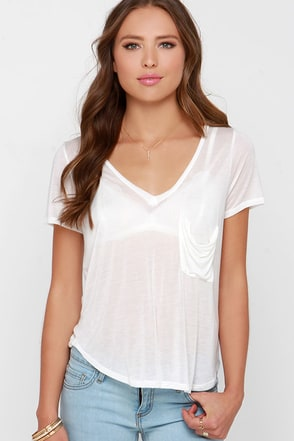 License to Chill Beige V Neck Tee at Lulus.com!