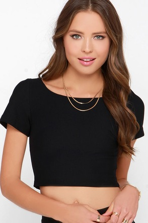 Zip Me Up Black Crop Top at Lulus.com!