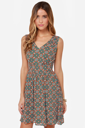 Darling Rebecca Teal Floral Print Dress