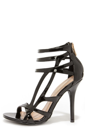 Haute Stuff Black Patent Caged Heels at Lulus.com!