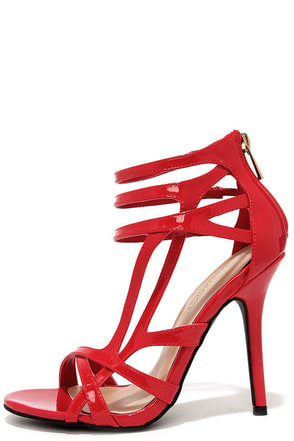 Haute Stuff Red Patent Caged Heels at Lulus.com!