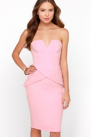 Finders Keepers In Between Days Pink Strapless Midi Dress at Lulus.com!