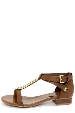 Mia Cairo Tan Metal Plated Thong Sandals