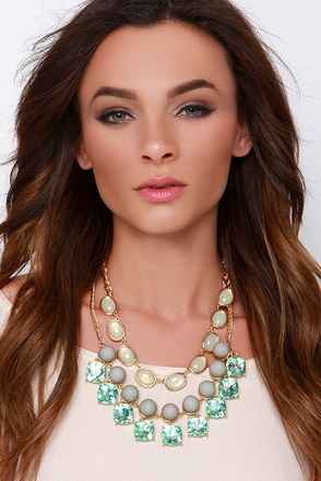 Gorgeous Creature Green Rhinestone Statement Necklace at Lulus.com!