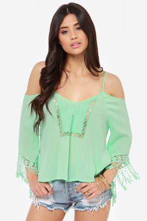 Fest Dressed Crochet Mint Green Top