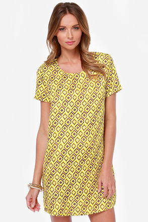 Design Me Up Yellow Print Shift Dress