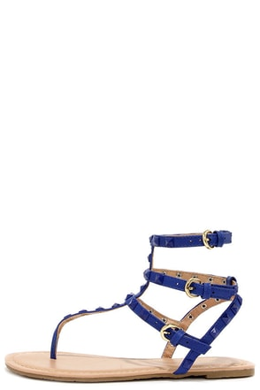 Riddle of the Sphinx Blue Studded Thong Sandals at Lulus.com!