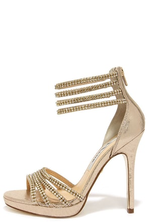 Nina Fergie Taupe and Gold Rhinestone Dress Sandals at Lulus.com!