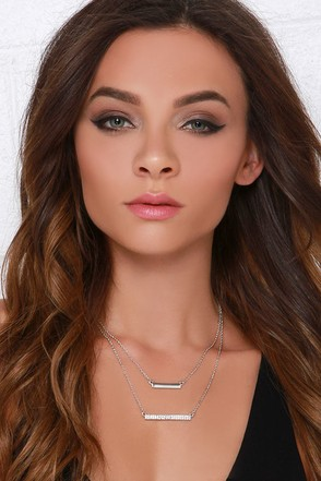 Downtown Bars Silver Rhinestone Layered Necklace at Lulus.com!