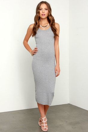 Blissed Out Heather Grey Midi Dress at Lulus.com!