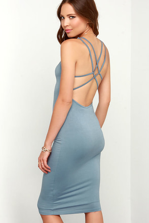 Jersey Girl Light Blue Backless Midi Dress at Lulus.com!