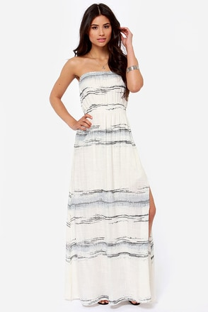 O'Neill Waterfall Cream Print Strapless Maxi Dress