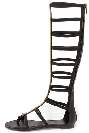 Roman Femme-pire Black Tall Gladiator Sandals at Lulus.com!