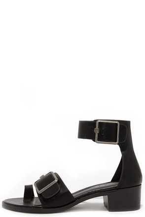 Buckle Uptown Black Ankle Strap Sandals at Lulus.com!