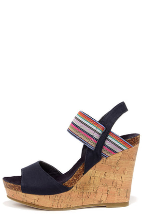 Madden Girl Feliciti Navy Multi Wedge Sandals at Lulus.com!
