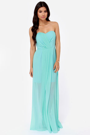 Over the Swoon Strapless Aqua Blue Maxi Dress
