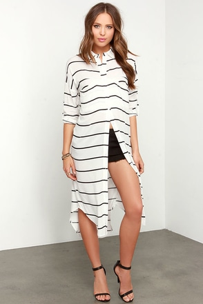 Pure Joy Black and Ivory Striped Button-Up Maxi Top at Lulus.com!