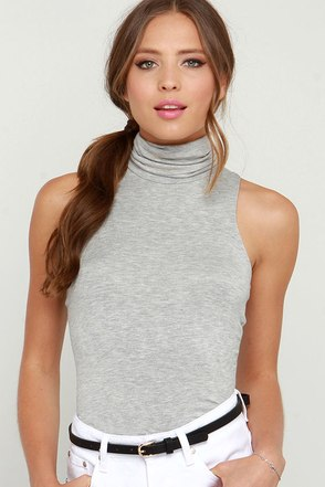 Alive and Kicking Heather Grey Sleeveless Turtleneck Top at Lulus.com!