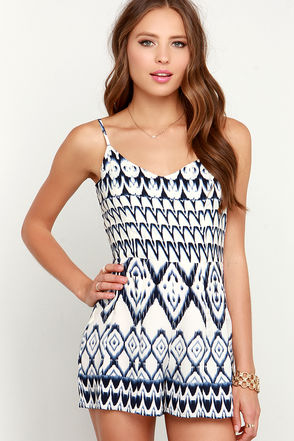 Yucatan Ivory and Navy Blue Print Romper at Lulus.com!
