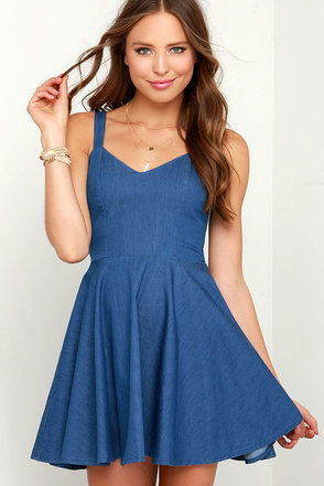 Rhythm Birkin Blue Chambray Skater Dress at Lulus.com!
