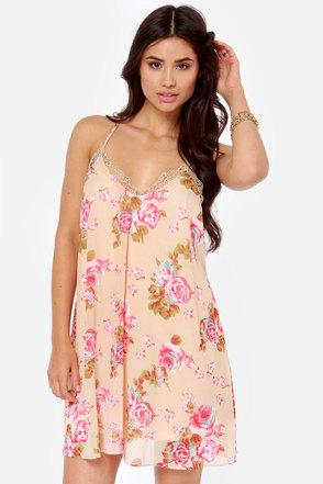 Ladylike You a Lot Beige Floral Print Dress
