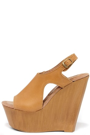 Sbicca Tullane Tan Leather Platform Wedge Sandals at Lulus.com!